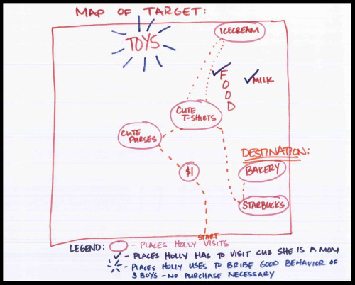 A hand drawn map of the inside of Target