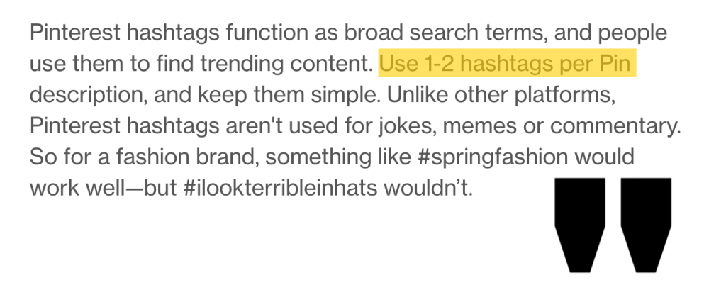 how many hashtags for Pinterest quote