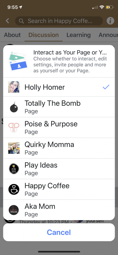 Mobile version of fb group interacting as