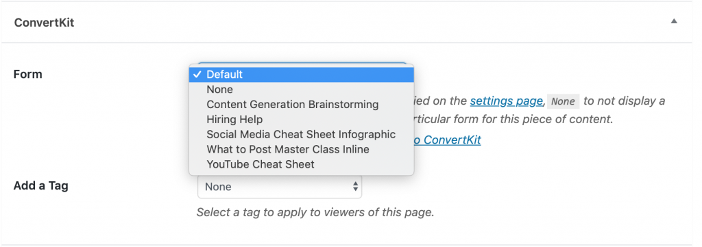 ConvertKit form sign up box that comes with ConvertKit WordPress Plugin